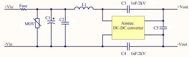 Схема фильтрации помех преобразователей постоянного напряжения Aimtecна примере AM6CW