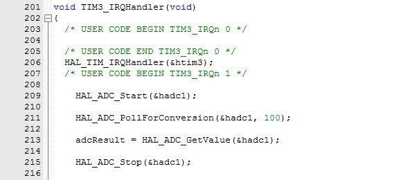Код обработчика прерываний TIM3 для работы АЦП