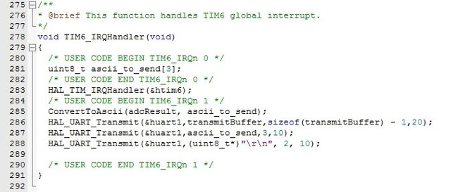 Код обработчика прерываний TIM6