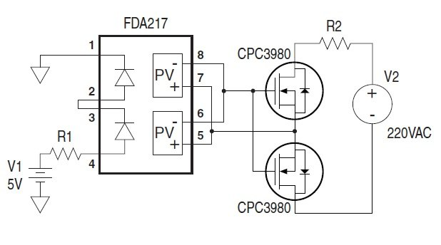Схема нормально замкнутого реле с применением транзисторов IXYS