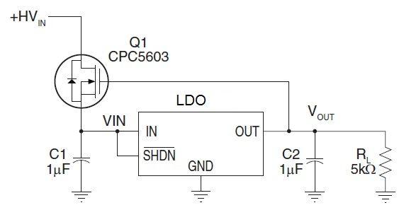 Схема регулятора напряжения с высоким входным напряжением